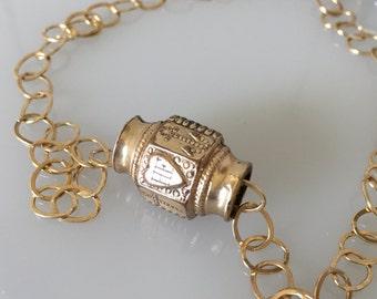 Antique Victorian Heart Watch Chain Slide on a Gold Filled Chain Bracelet or Necklace  @CELESTEANDCOGEMS