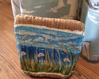Driftwood art..seascape. Hand painted..sea/sky/seed heads/coast. P&P INCLUDED.