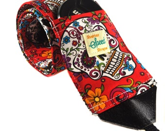 DSLR Camera Strap with Lens Pocket - Sugar Skulls in Red