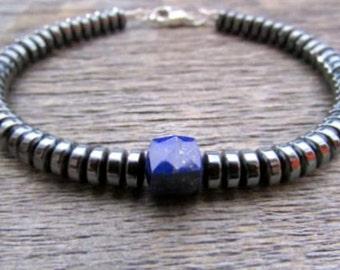 Men's Bracelet, Lapis Bracelet, Hematite Bracelet, Bead Bracelet, Stack Bracelet, Vegan Bracelet, Chakra Bracelet, Bracelets For Men
