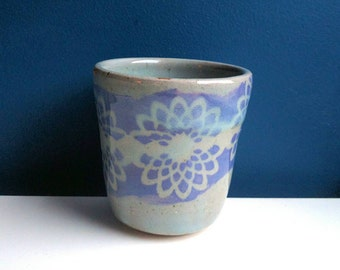 Small Lavender Water Cup or Tumbler / Purple or Lace Pottery / Flower Decoration