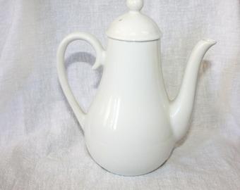 Vintage Small White Pottery Teapot