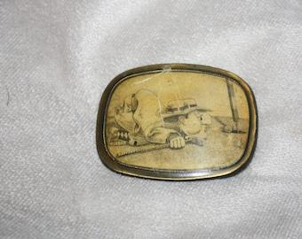 Vintage Golfer Cartoon Belt Buckle