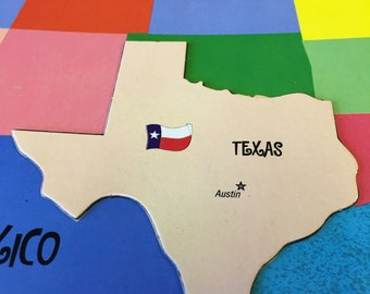 5 magnetic TEXAS puzzle pieces