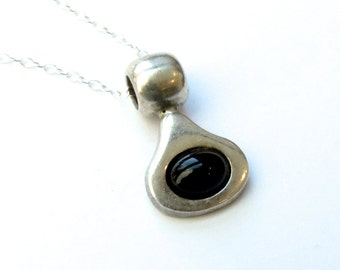 Black drop necklace Goth Minimalist