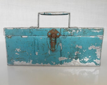 """Vintage Chippy Teal Blue Metal Toolbox 12""""x6""""x5"""" Industrial Decor / Exceptional Squared Handle / Full Length Hinge / Rustic Decor / Storage"""