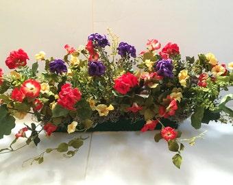 """Purple/Red Geraniums + Red Petunias + Yellow Azaleas silk window box arrg. In 20""""L x 3.5"""" styrofoam for Your 24""""L-32""""L x 4""""W-8""""W Window Box"""