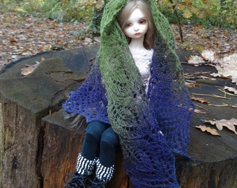 knitted lace dollfie shawl, SD, BJD green-violet