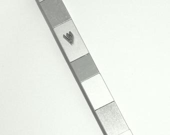 Judaica Mezuzah Case Shiny & Matte Silver Cubes Aluminum 12 cm