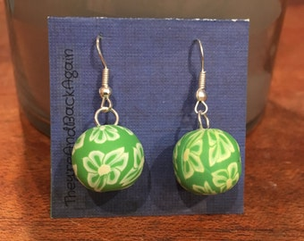 Lime Green Flower Clay Bead Earrings