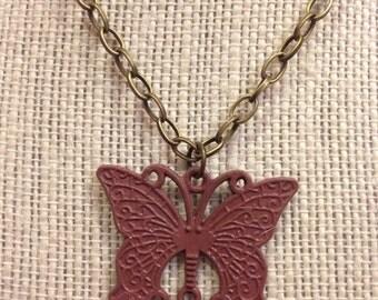 "20"" Light Crimson Butterfly Necklace"