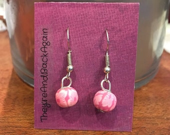 Pink Lily Clay Bead Earrings