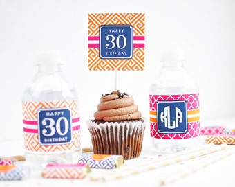 Preppy Party Printable Cupcake Toppers - 30th Birthday Favors - 40th Birthday Favors - Adult Birthday Party Printables