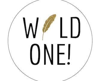 12 Wild One Stickers, Gold Feather, Birthday Labels, Gold Theme, Feather Theme, Tribal Stickers, Feather Birthday, Little Man, Wild One
