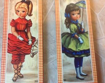 Maio Prints Two Maio Girl Prints Big Eyed Girl Vintage Maio Vintage Girl
