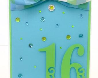 Handmade Sweet 16 Birthday Card, Girls 16th Birthday Card, Teen Girl Birthday Card, Sixteenth Birthday Card, Girls Birthday Card