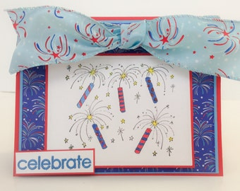 Handmade Patriotic Card, Fireworks, Celebration Card, Congatulations, July 4th, Veterans Day, Military Card, Birthday Card, Sparklers