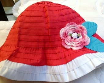 Girls Baby Infant Toddler Pink White Hat Sunhat - Handmade Irish Rose - Sizes 6-12 months, 12-24 months, 2T-3T, and 4T-5T Years