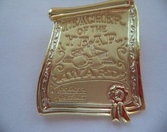 Vintage Signed AJC Goldtone/Matt Teacher of the Year Award Brooch/Pin