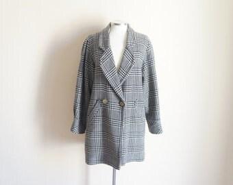 Vintage 1980s Coat / Vintage Houndstooth Coat