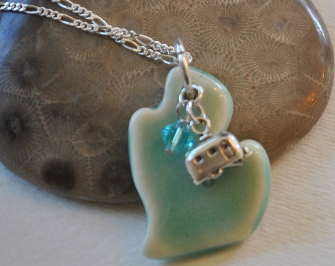 Ceramic Michigan pendant with sterling silver camper charm, Michigan necklace, Up North