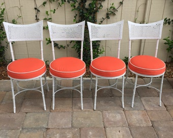 Set of 4 Vintage Faux Bamboo Metal Patio Chairs with New Coral Cushions, Mid Century Palm Beach Regency