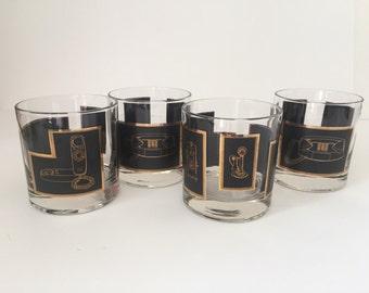 Vintage Set of 4 Mid Century Hollywood Regency Black and Gold Telephone Rocks Glasses