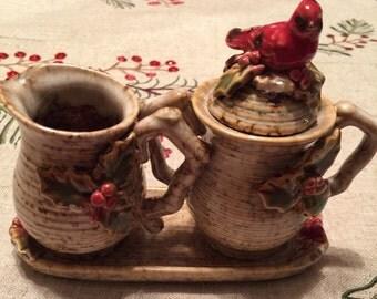 Winter Cardinal Creamer & Sugar Set