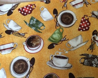 "Coffee Cappuccino latte cups and saucers curtain valance 41"" x 15"" in 100% cotton - Handmade new."