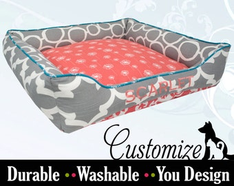 Colorful Dog Bed or Cat Bed | Custom Pet Bed | Bolster Support |  Coral, Gray, Turquoise