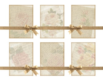 Digital Collage Sheet for gifts, paper craft printable download shabby chic note cards music roses French script tags greeting card