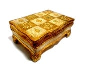 Florentine Jewelry Box, Trinket Box, Gold Gilt and Cream, Hinged Florentine Box, Made in Italy, Old World Mediterranean Decor