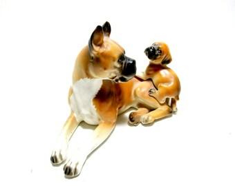 Vintage Boxer Figurine, Boxer Dog Figurine, Napco Japan, Boxer and Puppy Figurine, Boxer Lover, Boxer Puppy