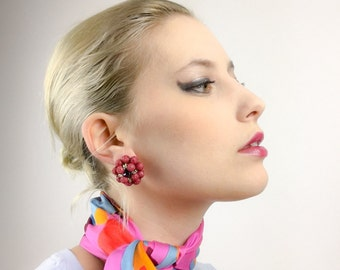 FREE SHIPPING Red Beaded Button Earrings Clip On Pinup MadMen Retro