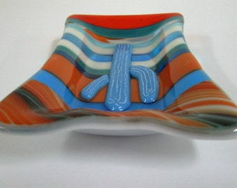 Blue Cactus Fused Glass Vice Tray