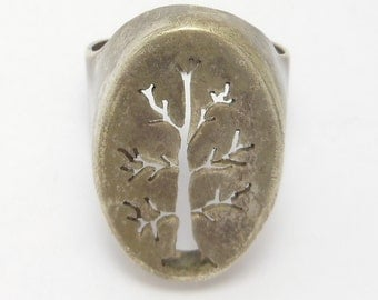 Unique Artisan Made Sterling Tree Silhouette Ring