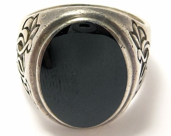 Vintage Sterling Onyx Celtic Design Ring Signed B&H