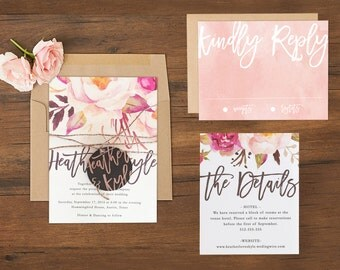 Boho Wedding Invitations \\ Watercolor Florals \\ Sample