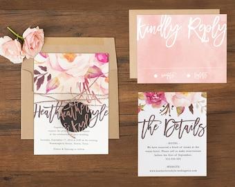 Boho Wedding Invitations \\ Watercolor Florals \\ Sample