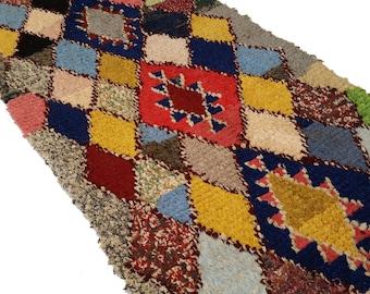 "87""X47"" Vintage Moroccan rug woven using different scraps of used textiles / boucherouite / boucherouette"