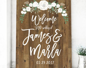 Rustic Wood Wedding Welcome Sign - Rustic Sign - Wood Sign
