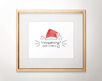 Meowy Christmas Print - Cat Christmas - Holiday Print - Hand Lettered