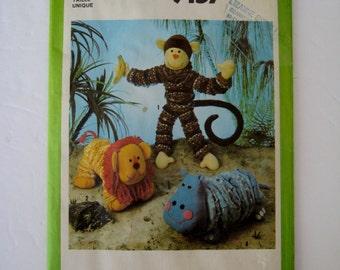 Vintage Simplicity 9157 Sewing Pattern Stuffed Hippo Toy Monkey Plush Lion Pattern DIY Christmas 1970's Toys UNCUT
