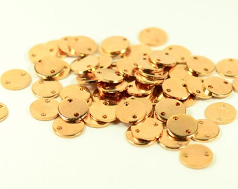 10 Pcs. Rose Gold Plated  10 mm Round 2 Hole Stamping Personalized Disc , 1 mm  (18 ga )