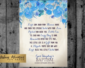 Baptism Prayer, Baptism Poem, Baptism Sign,  Baptism,  Flower, floral,Christening, Dedication ,First Communion. Boy Baptism -Blue