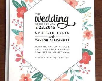 Floral Burst Spring or Summer Wedding Invitations