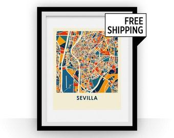 Sevilla Map Print - Full Color Map Poster