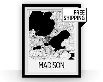 Madison Map Poster - usa Map Print - Art Deco Series