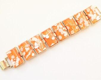 Orange Confetti Lucite Link Bracelet with White and Gold Confetti