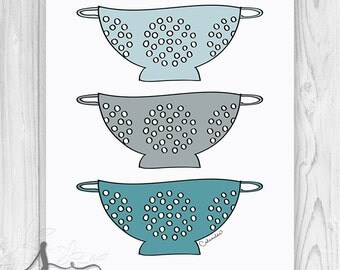 Turquoise Kitchen Colander Art Print, Wall Art Print, Kitchen Art, Kitchen Colander, Kitchen Home Decor Wall Art - Home Decor Art Print
